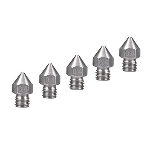 Stainless Steel 3D Printer MK8 Extruder Nozzle 0.4mm for CTC ANET A8 3D Printer Printing Carbon Fiber 1.75mm ABS PLA Filament(7x13mm, 0.4mm)