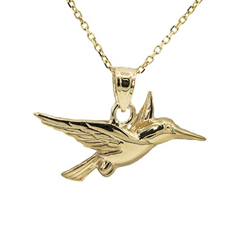Ice on Fire Jewelry 10k Yellow Gold Hummingbird Pendant Necklace (20
