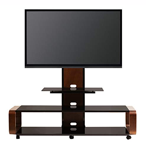 TransDeco Cureved Wood TV Stand w/Mount and Caster for 40-80