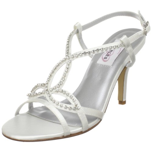 Dyeables Women's Elsa T-Strap Sandal,White Satin,8 B US