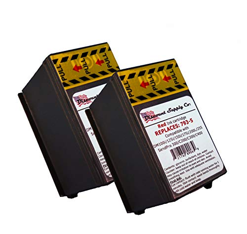 2-Pack Pitney Bowes Compatibe 793-5 Red Ink Cartridge for P700, DM100i, DM125i, DM150i, DM175i, DM200L, DM225 Postage Meters