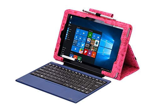 i-UniK 2017 New RCA 10.1 Cambio Compatible Model #W101SA23T1S Windows Tablet Folio Case [Bonus Stylus] (Cute Pink)