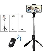 LATEC Palo Selfie Trípode, Selfie Stick Extensible con Mando a Distancia Inalámbrico por Bluetooth para Móviles de 3.5 a 6 Pulgadas como iPhone, Samsung Galaxy, Huawei, Xiaomi