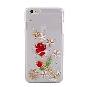 "iPhone 6 Case, Elonbo TM Fashion Rhinestone Design Lovely Rose Hard Plastic Back Case Cover For 4.7"" iPhone 6"