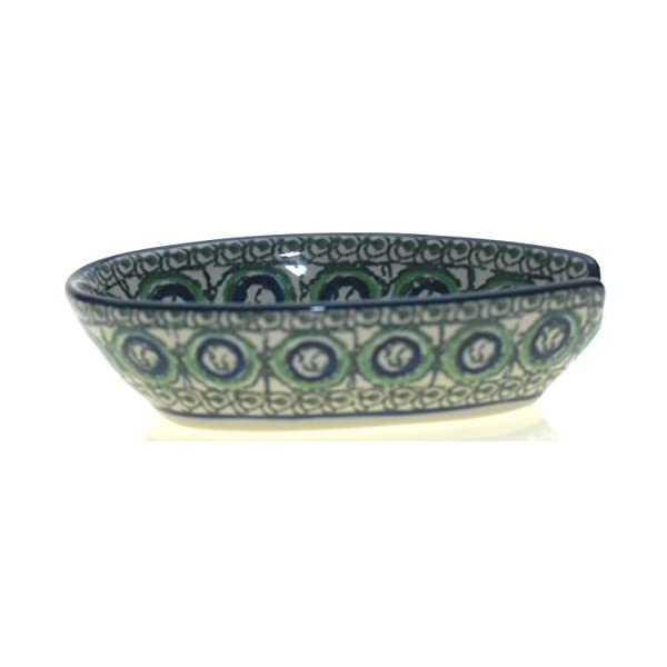 Ceramika Artystyczna Polish Hand Painted Spoon Rest (Blue and Green Pattern)
