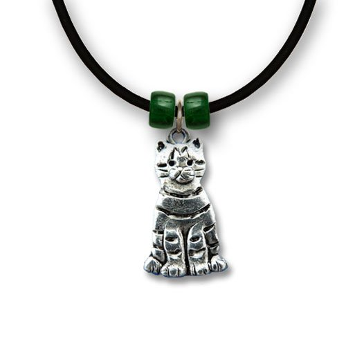 Pewter Tabby Cat Necklace by The Magic ()