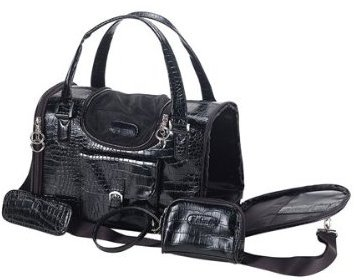 Faux-Crocodile Travel Bag w/Matching Coin Purse Tote Carrier -- Black by mpet (Crocodile Bag Perfect)
