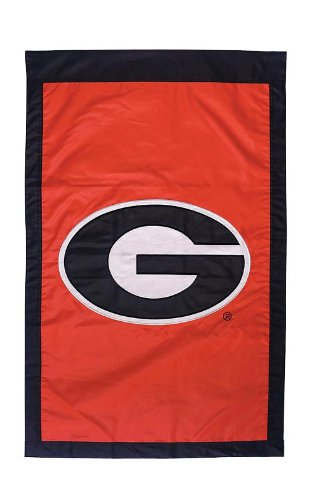 NCAA Georgia Bulldogs Double Sided 28 x 44-Inch Applique Flag (Flag House Bulldogs)
