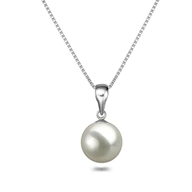 25160a8bda0dc White Japanese AAAA 6-12.5mm Freshwater Cultured Pearl Pendant Necklace  16