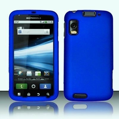 Royal Blue Rubber Touch 2pcs Phone Protector Hard Cover Case for Motorola Atrix 4G MB860 (Motorola Atrix 4 Case)