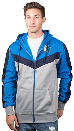 Dallas Mavericks Men's Full Zip Hoodie Sweatshirt Jacket Back Cut, Medium, Deep Blue