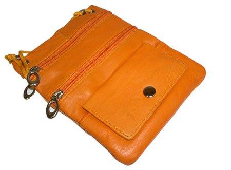Handbag Avenue Leather (New Genuine Leather Travel Purse General Purpose Shoulder Orange Bag)