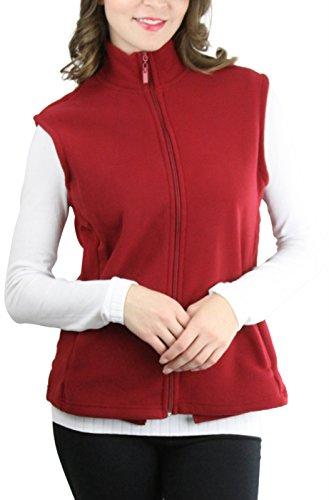 - ToBeInStyle Women's Zip Up Sleeveless Polar Fleece Vest (3XL, Burgundy)