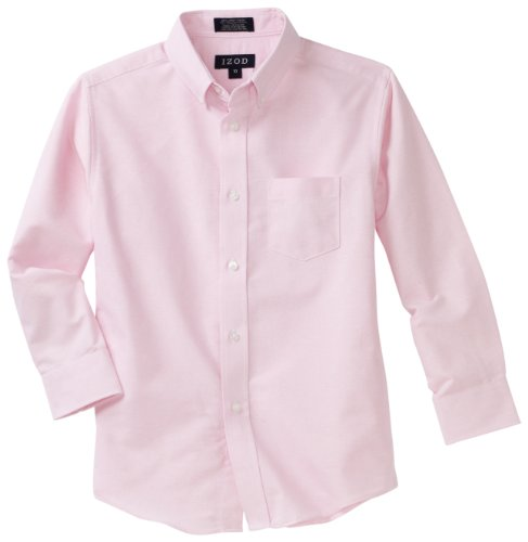 Boys In Pink Dresses - Izod boys Long Sleeve Solid Button-Down Oxford Shirt, Medium Pink, 10 Regular