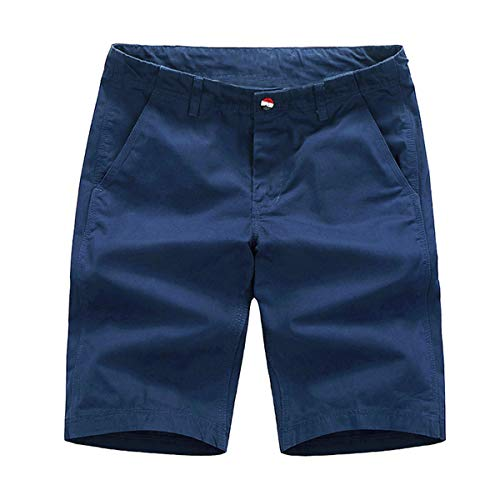Belted Flat Front Shorts - Voncheer Mens Casual Summer Buttons FrontBeltedCotton Shorts with 4 Pockets (30, Dark Blue Men Shorts)