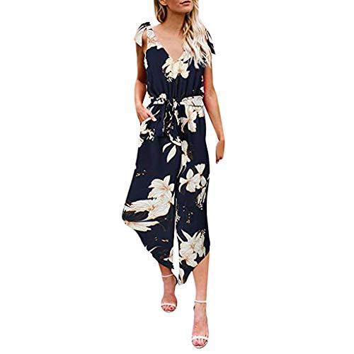 d88b3733a8b Hemlock Women Floral Print Jumpsuit V Neck Waist Belted Jumpsuit Wide Leg Loose  Jumpsuit Romper with