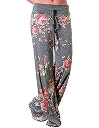 Women Floral Loose Pants Mokao Drawstring Wide Leg Lounge...