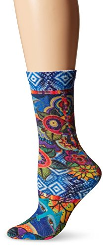 laurel-burch-womens-single-pack-novelty-animal-crew-socks-cats-with-flowers-9-11