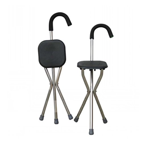 MOXIN Cane seat walking stick seat canes three-legged stool chairs for the elderly the elderly walking stick stool , a , tripods stick stool black stool by moxin