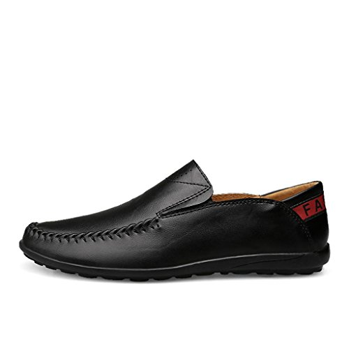Chaussures en Cuir PéDale Chaussures De Course Chaussures pour Hommes Business Casual Chaussures Paresseuses Black b6Am2