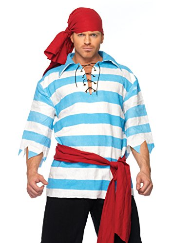 (Leg Avenue Men's Pillaging Pirate Costume, Blue/White,)