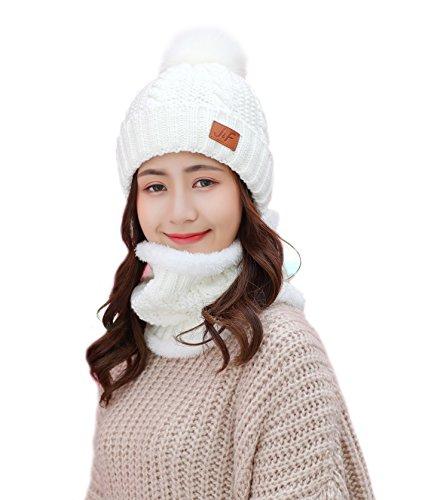 Winter Women Scarf Hat Set Knitted Skullcaps White - 5