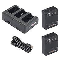 AHDBT-302 Newmowa 1300mAh Batería de reemplazo (paquete de 2) y cargador rápido de 3 canales para Gopro Hero 3, Gopro Hero 3+, AHDBT-301, AHDBT-302