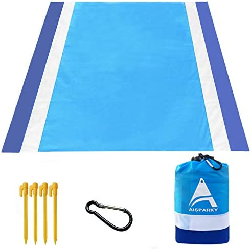 Beach Blanket Beach Mat Outdoor Picnic Blanket Compact for 4-7 Persons Water Proof and Quick Drying Beach Mat Mady by Premium Nylon Pocket Picnic Sheet for Outdoor Travel 78 X 81