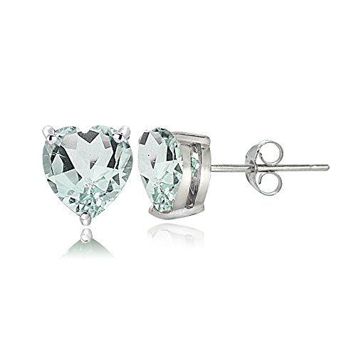 Sterling Silver Genuine, Created or Simulated Birthstone Gemstone 6mm Heart Stud Earrings