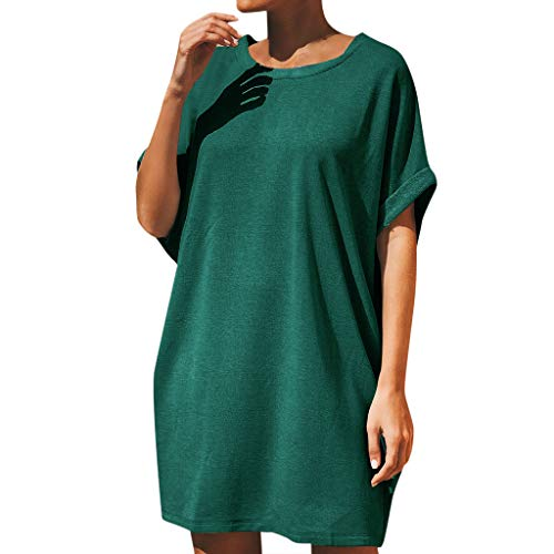 Tantisy ♣↭♣ Women Short Sleeve O-Neck T Shirt Dress Fashion Summer Daily Simple Casual Party Dress Green ()