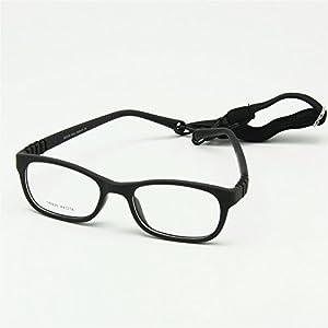 EnzoDate Flexible Kids Eyeglasses Frame Size 44/16 TR90 Children Glasses, No Screw, Unbreakable Safe Light Boys Girls Optical Glasses (black)