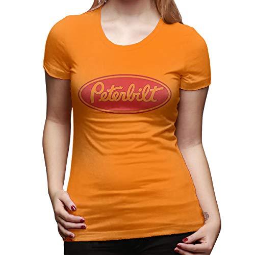 PopNoun Women Short Sleeve Peterbilt Truck Logo Fashion Shirt XL Orange