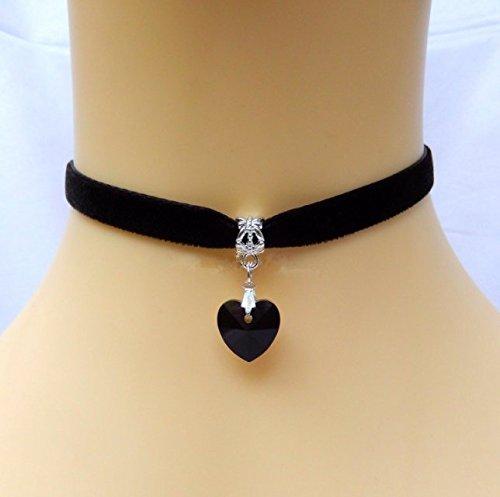 Black Velvet Choker Necklace Gothic Handmade Heart Crystal Pendant Retro Burlesque 90s by Chonlyshop
