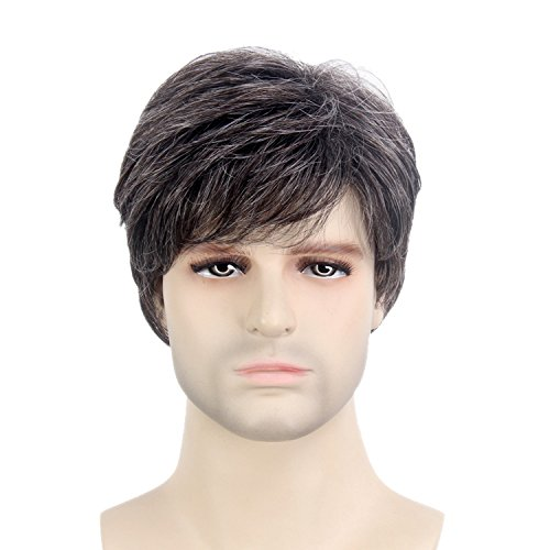 STfantasy Mens Male Guy Wig Short Layered Wavy Halloween Cosplay Party Hair withCap, 12 Inches Grey