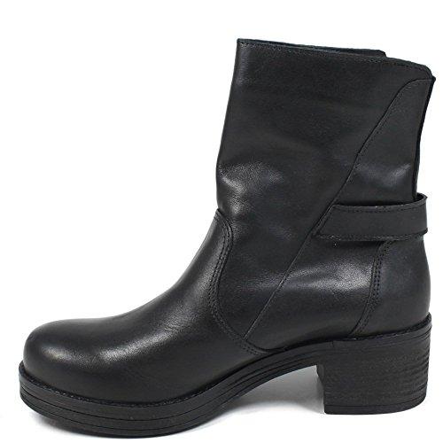 Nero In Pelle Stivali Made E Personal Boots Italy Con Zip Bikers Donna Shoepper Stivaletti Bottone 0328 Vera qZwZOCUP1