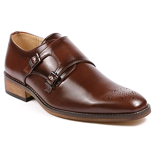 Metrocharm MC101 Mens Perforated Double Monk Strap Slip On Dress Shoes