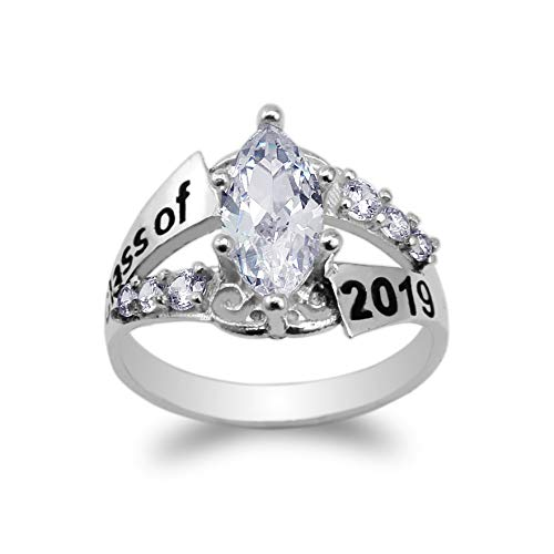 JamesJenny White Gold Plated Graduation Class of 2019 School Ring with 1.25ct Marquise CZ Size 6