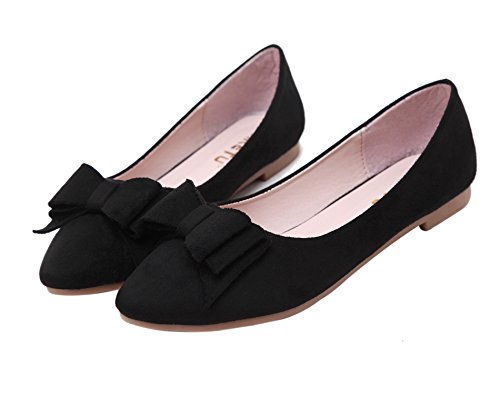 DQQ Women's Bowknot Pointed Toe Flat Shoes Black UPASlxo6qZ