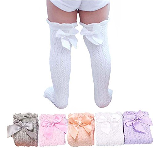 UdobuySuper Cute Sweet 5 Pairs Girl Lace Bows Princess leg Warmers Cotton Over Calf Knee High Socks ()