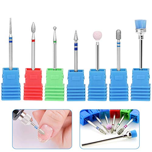 RMENOOR 7 Pcs Nail Drill Bits Cuticle Cleaner Diamond Nail Drill Files Cuticle Bit Buffing File Set Rotary Cleaning Brush Manicure Pedicure Replacement for Nail Salon Electric Nail Drill