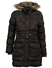 Chocolate Pickle Womens Long Sleeve Camo Print Padded Fur Hooded Quilted Jacket