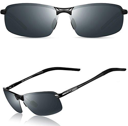 ATTCL® Hohe Qualität Ultraleicht Al Mg Rahmenantriebs polarisierten Sonnenbrillen Herren 18143 Schwarz