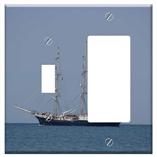 1-Toggle 1-Rocker/GFCI Combination Wall Plate Cover - Sailboat Marseille Port Three-Masted France 1