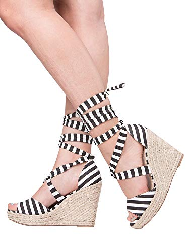 (Kathemoi Womens Wedge Sandals Ankle Strap Lace Up Espadrille Slingback Platform Heeled Sandals)