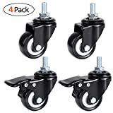 MVPOWER 2'' Swivel Caster Wheels,4 Pack Dust Cover Rubber Stem Casters with Brake and 360 Degree Rotating for Shopping carts, Hand Trolley, Movable Furniture,2 inch with Brake, Black