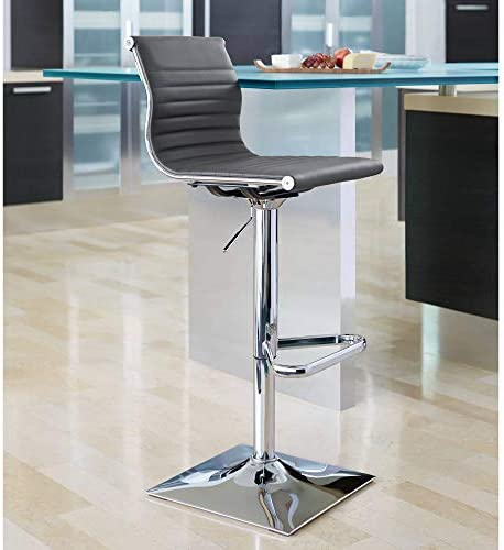 Master Gray Faux Leather Chrome Adjustable Swivel Bar Stool