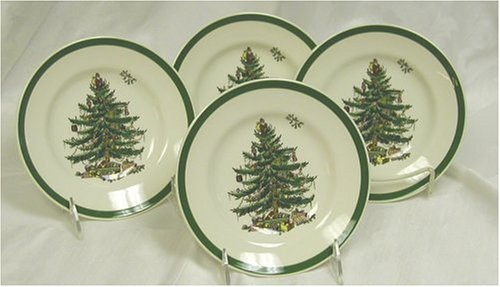 Amazon.com | Spode Christmas Tree Party Plates, Set of 4: Snack Plates:  Snack Plates