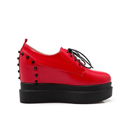 BalaMasa Girls borchie rivetto lace-up imitato in pelle pumps-shoes, Rosso (Red), 38 EU