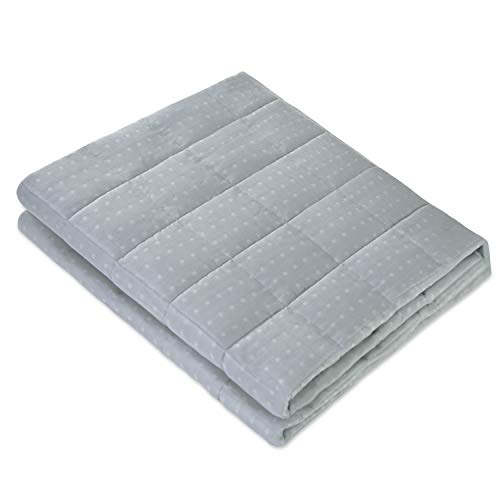 Cooling Garden - Amy Garden Bamboo Microfiber Cooling Weighted Blanket | More Smaller Pockets Heavy Blankets for Adult | Summer Thin Quilt for Hot Sleeper (48x72 Inch,15 lbs for 120-180 lbs, Bluish Grey)