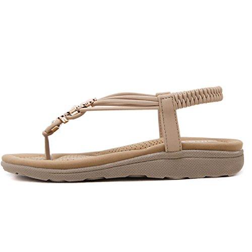 Btrada Sandalen Voor Dames-klem Teen Strand Casual Flats-zomer Anti-slip Strand Slippers Abrikoos